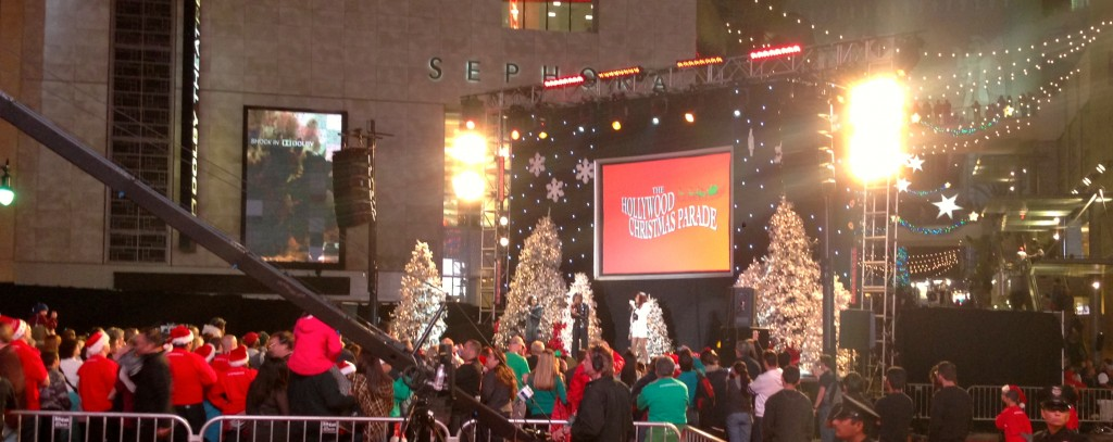 Singing trio, McClain, performs at the beginning of The Hollywood Christmas Parade at the intersection of Hollywood Blvd. and Orange Dr. Sunday, Dec. 1, 2013 in Hollywood, Calif. (Photo by: Eric Dively/Full Sail University)