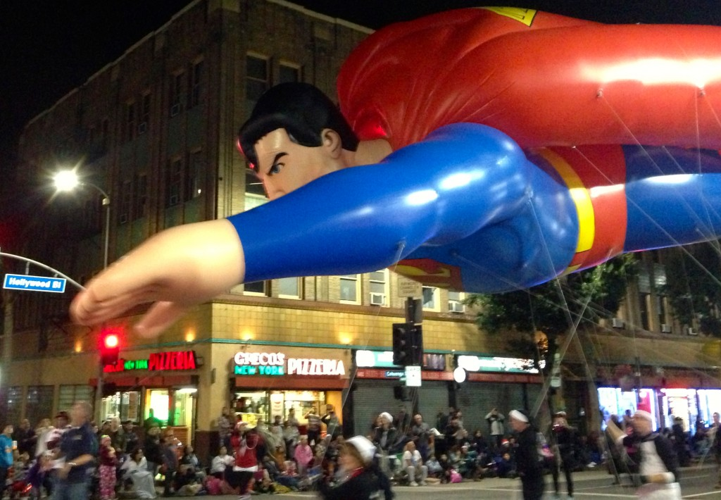 The Superman balloon is led through the intersection of Hollywood Blvd. and Cahuenga Blvd. as a part of The Hollywood Christmas Parade Sunday, Dec. 1, 2013 in Hollywood, Calif. (Photo by: Eric Dively/Full Sail University)