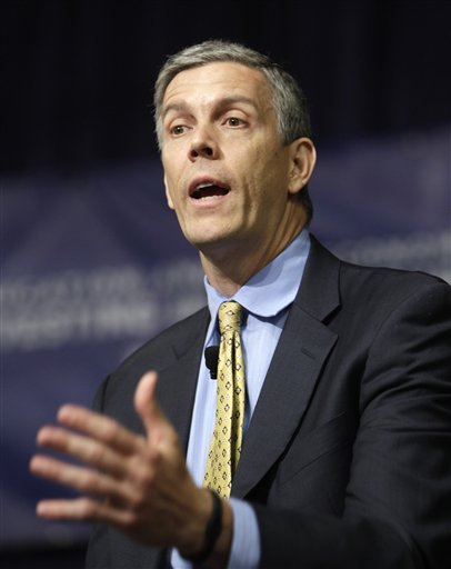 Arne Duncan, U.S. Secretary of Education,  speaks about community partnerships in education at East Technical High School on Sept. 7, 2011 in Cleveland, Ohio. The focus is meant to encourage community-based organizations to be more invested in the education of students.  (AP Photo/Tony Dejak)